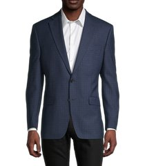 lauren ralph lauren men's regular-fit check wool-blend jacket - blue - size 38 r