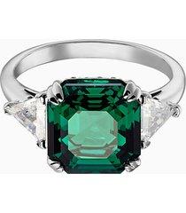 anello cocktail attract, verde, placcatura rodio