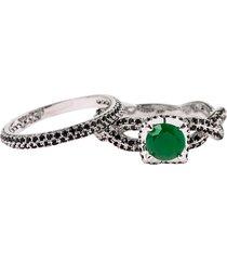 anel solitário com aparador the ring boutique pedra cristal verde esmeralda ródio ouro branco