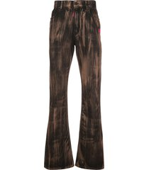 off-white printed thermal imaging bootcut jeans - black