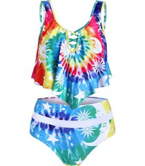 crisscross tie dye printed high waisted tankini swimwear