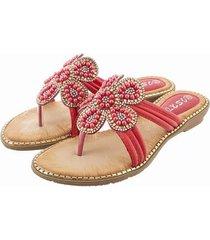 sandalias de pétalos con cuentas de pétalos rojos