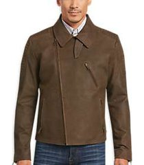 joseph abboud brown leather moto jacket
