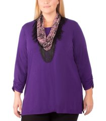 ny collection plus size removable-scarf top