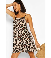 leopard print swing dress, brown