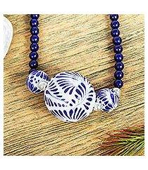 lapis lazuli and ceramic pendant necklace, 'indigo garden' (mexico)