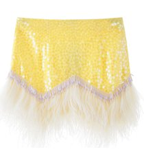 the attico mini skirt with sequins and feathers