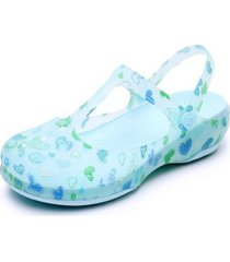 sandalias estampadas antideslizantes para mujer-azul