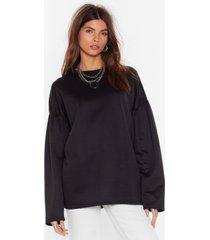 womens make 'em sweat oversized puff sleeve sweatshirt - black