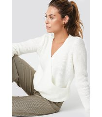trendyol crossed knitted sweater - white