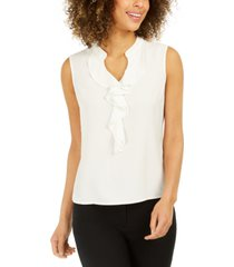 nine west ruffle-front blouse