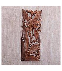 wood relief panel, 'orchid charm' (indonesia)