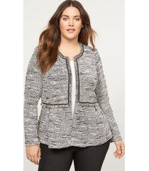 lane bryant women's boucle peplum jacket with fringe 16 black & white tweed