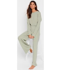 womens keep your cool ribbed top and pants set - sage