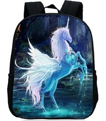 mochila/ escolar unicorn print-azul