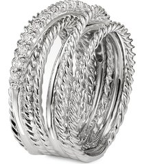 diamond silver multi row crossover wide band ring