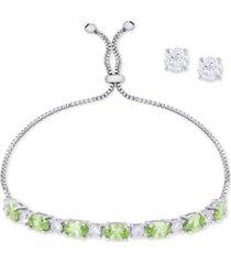 simulated peridot slider bracelet & cubic zirconia stud earrings set in fine silver-plate, august birthstone
