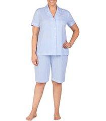 plus size women's lauren ralph lauren bermuda pajamas, size 2x - blue