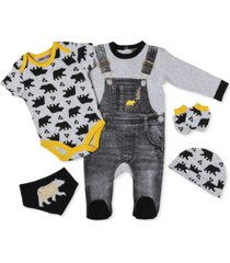 lily & jack baby boys forest bear footie 5 piece layette gift set