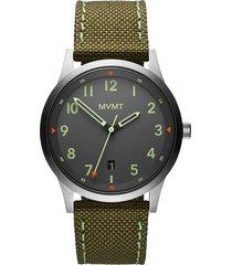 mvmt field canvas strap watch, 41mm in green/light grey/silver at nordstrom