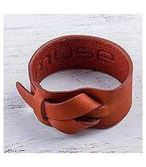 leather wristband bracelet, 'nazca tan' (peru)