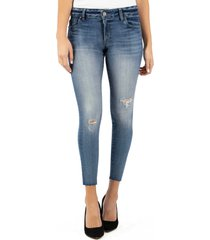 women's kut from the kloth connie ripped high waist ankle skinny jeans, size 18 - blue