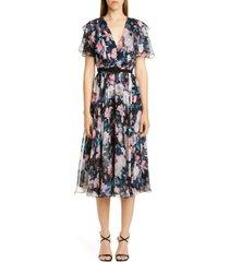 women's erdem floral ruffle silk chiffon midi dress