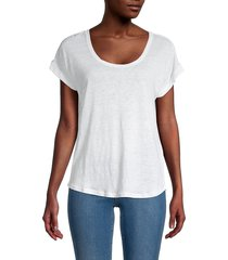 frame women's slouchy scoopneck linen tee - white - size m
