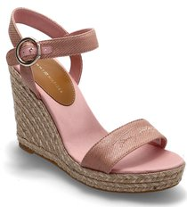 th signature high wedge sandal sandalette med klack espadrilles rosa tommy hilfiger