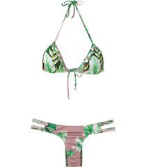 amir slama printed triangle bikini set - green