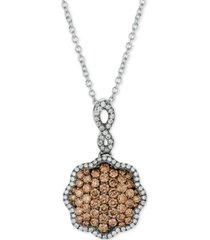 "le vian chocolatier diamond pave 18"" pendant necklace (3/4 ct. t.w.) in 14k white gold"