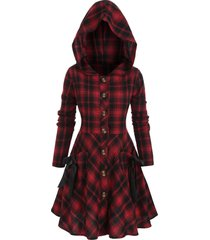 plus size plaid hooded tie skirted button front coat