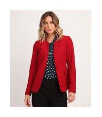 blazer feminino acinturado com bolsos vermelho