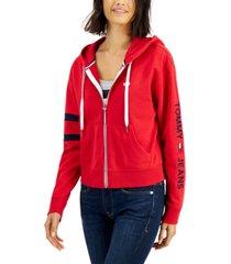 tommy jeans logo zip hoodie