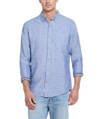 men's solid linen long sleeve shirt