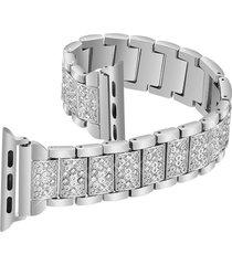 full metal diamante brillante banda de acero inoxidable sustitución