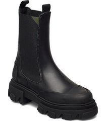 calf leather shoes chelsea boots svart ganni