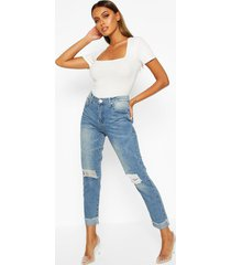 mid rise marble wash mom jeans, mid blue