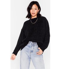 womens big softie relaxed knitted sweater - black