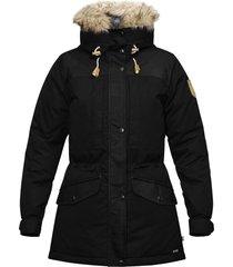 women's fjallraven singi 600 fill power down jacket with faux fur trim, size large - black