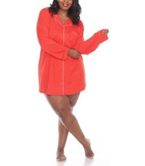 white mark plus size long sleeve nightgown