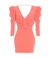 vestido mini ombro puff iorane - laranja