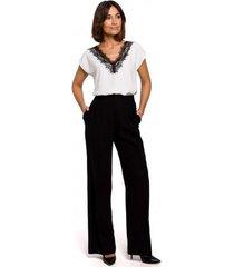 blouse style s206 mouwloze top met kanten halslijn - beige