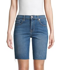 high-rise denim bermuda shorts
