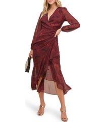 women's astr the label floral print faux wrap dress, size medium - burgundy