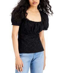 inc cotton eyelet square-neck top, created for macy's