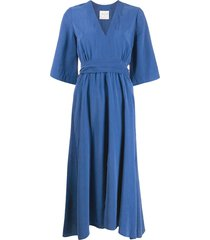 forte forte loose fit midi dress - blue