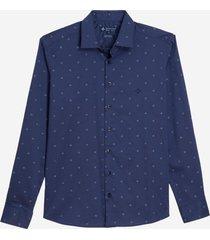 camisa dudalina manga longa cetim fio tinto estampa funny masculina (azul marinho, 7)