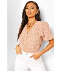 ditsy floral woven puff sleeve blouse, blush