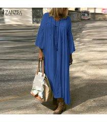 zanzea extra grande de las mujeres de la camisa ocasional maxi largo del vestido de cuello en v vestido de alas de murciélago de gran tamaño kaftan -azul